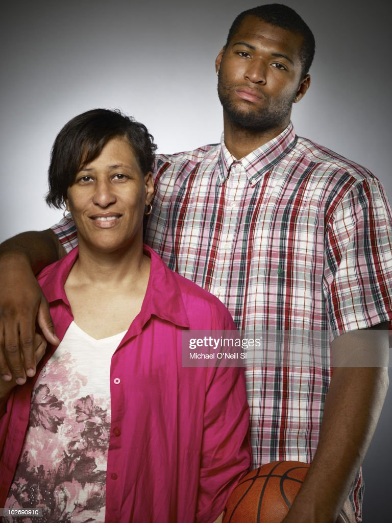 Basketball player and NBA prospect DeMarcus Cousins and his mother Monique Cousins pose for a portrait session on June 22, 2010, New York, NY for Sports Illustrated Magazine.