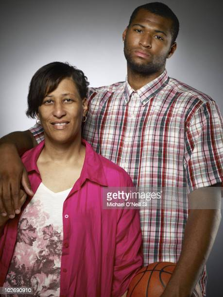 Basketball player and NBA prospect DeMarcus Cousins and his mother Monique Cousins pose for a portrait session on June 22 New York NY for Sports...