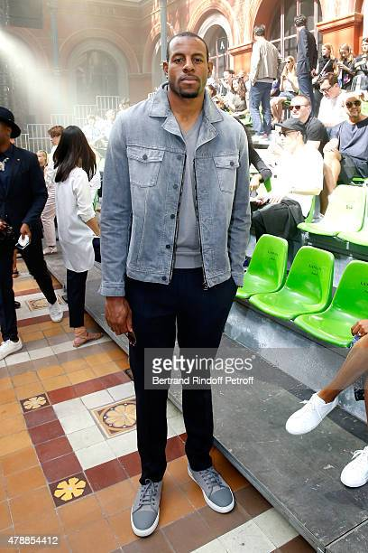 Basketball Player Andre Iguodala attends the Lanvin Menswear Spring/Summer 2016 show as part of Paris Fashion Week Held at 'Ecole Nationale...