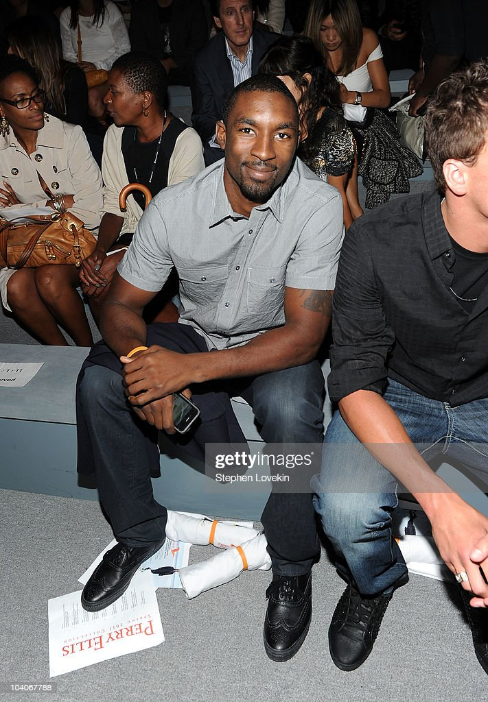 Basketball player <a gi-track='captionPersonalityLinkClicked' href=/galleries/search?phrase=Ben+Gordon&family=editorial&specificpeople=202181 ng-click='$event.stopPropagation()'>Ben Gordon</a> backstage at the Perry Ellis Spring 2011 fashion show during Mercedes-Benz Fashion Week at The Stage at Lincoln Center on September 13, 2010 in New York City.
