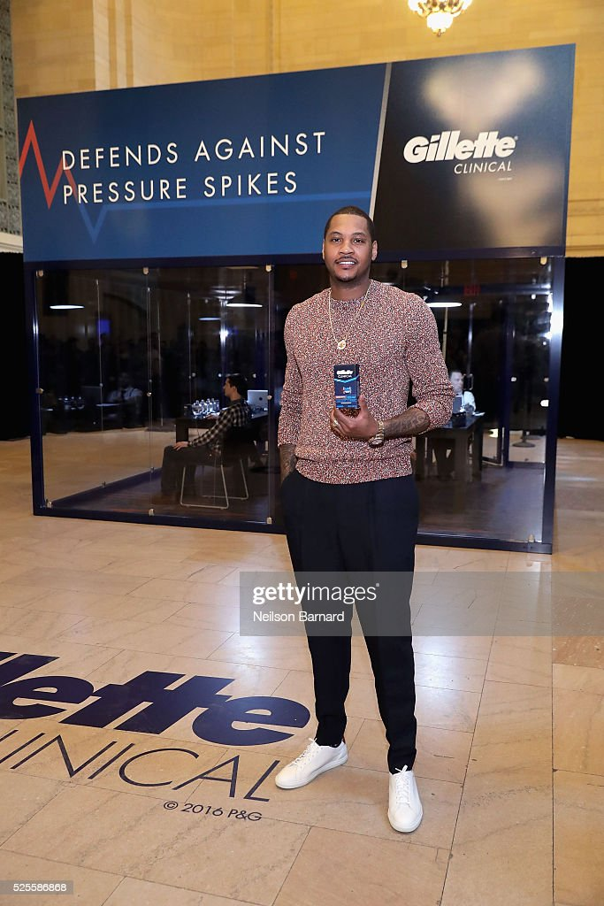 Basketball player Carmelo Anthony and Gillette Clinical Clear Gel Deodorant bring the heat to guys through the ultimate polygraph pressure test in Vanderbilt Hall at Grand Central Terminal on April 28, 2016 in New York City.