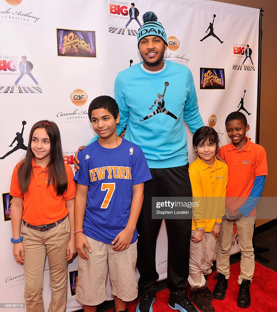 NBA basketball player <a gi-track='captionPersonalityLinkClicked' href=/galleries/search?phrase=Carmelo+Anthony&family=editorial&specificpeople=201494 ng-click='$event.stopPropagation()'>Carmelo Anthony</a> and some children from The <a gi-track='captionPersonalityLinkClicked' href=/galleries/search?phrase=Carmelo+Anthony&family=editorial&specificpeople=201494 ng-click='$event.stopPropagation()'>Carmelo Anthony</a> Foundation attend the 'Big' 25th Anniversary Edition Blu-ray Release special screening benefiting the <a gi-track='captionPersonalityLinkClicked' href=/galleries/search?phrase=Carmelo+Anthony&family=editorial&specificpeople=201494 ng-click='$event.stopPropagation()'>Carmelo Anthony</a> Foundation at AMC Empire on December 20, 2013 in New York City.