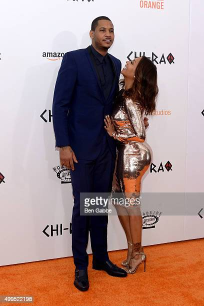 Basketball player Carmelo Anthony and TV personality La La Anthony attend the 'CHIRAQ' New York Premiere at Ziegfeld Theater on December 1 2015 in...