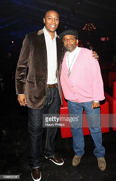 Basketball player Caron Butler of Dallas Mavericks and director Spike Lee attend DIRECTV and Mark Cuban's HDNet Super Bowl Party at Victory Park on...
