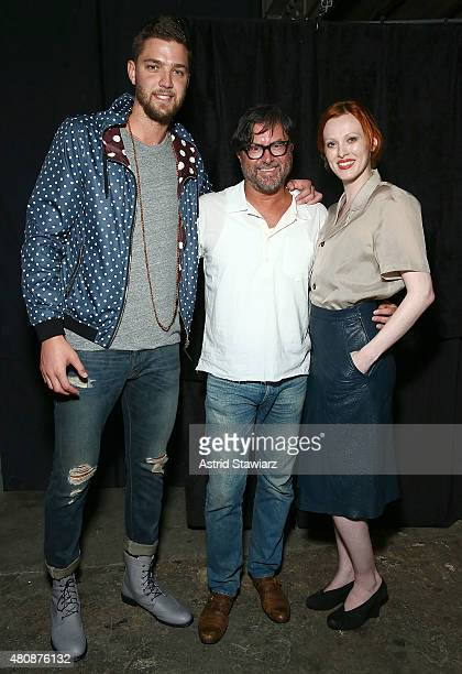 Basketball player Chandler Parsons fashion designer Billy Reid and model Karen Elson backstage at Billy Reid New York Fashion Week Men's S/S 2016at...