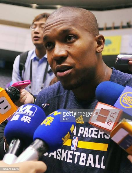 Basketball player David West of the Indiana Pacers speaks to journalists after the NBA Cares Special Olympics Clinic as part of the 2013 Global Games...