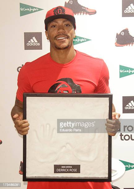 Basketball player Derrick Rose attends 'D Rose tour' press conference at El Corte Ingles store on July 15 2013 in Madrid Spain