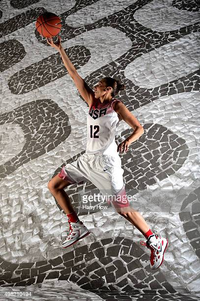 Basketball player Diana Taurasi poses for a portrait at the USOC Rio Olympics Shoot at Quixote Studios on November 21 2015 in Los Angeles California