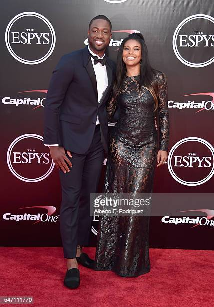 Basketball player Dwyane Wade and actress Gabrielle Union attend the 2016 ESPYS at Microsoft Theater on July 13 2016 in Los Angeles California
