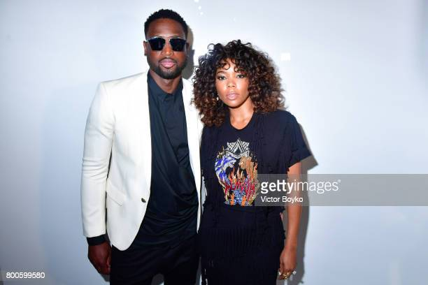 Basketball Player Dwyane Wade and actress Gabrielle Union attend the Balmain Menswear Spring/Summer 2018 show as part of Paris Fashion Week on June...