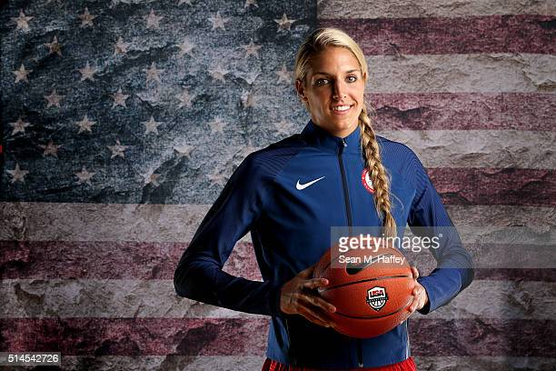 Basketball player Elena Delle Donne poses for a portrait at the 2016 Team USA Media Summit at The Beverly Hilton Hotel on March 9 2016 in Beverly...