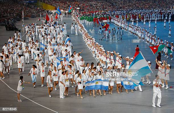 Basketball player Emanuel David Ginobili of Argentina carries the national flag during the Opening Ceremony for the 2008 Beijing Summer Olympics at...