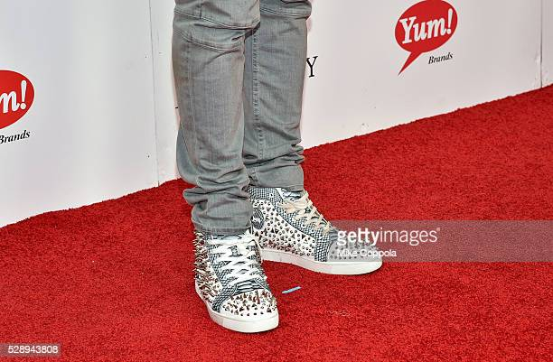 Basketball player for the Houston Rockets of the NBA Terrence Jones shoe detail attends the 142nd Kentucky Derby at Churchill Downs on May 07 2016 in...