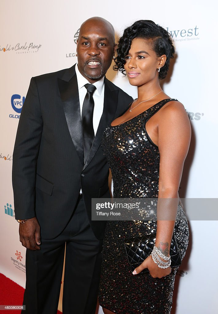 Basketball player Gary Payton and JoVan Brown attend the 15th annual Harold & Carole Pump Foundation gala at the Hyatt Regency Century Plaza on August 7, 2015 in Century City, California.
