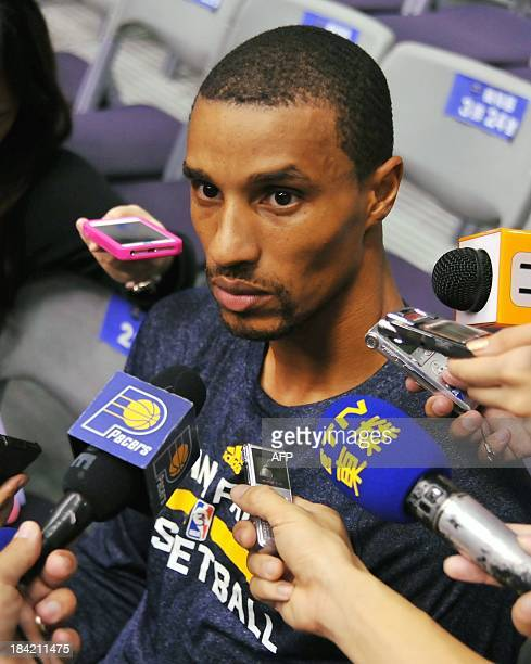 Basketball player George Hill of the Indiana Pacers speaks to journalists after the NBA Cares Special Olympics Clinic as part of the 2013 Global...