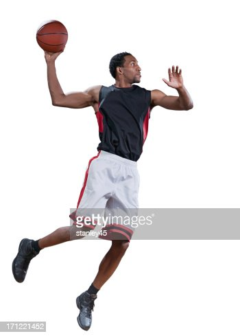 Basketball player in mid-air doing a jump shot