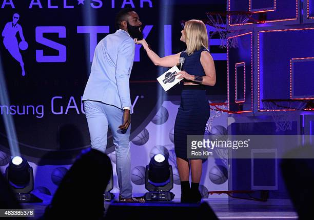 Basketball player James Harden and Host and TV personality Carrie Keagan speak on stage during the NBA AllStar AllStyle presented by Samsung Galaxy...