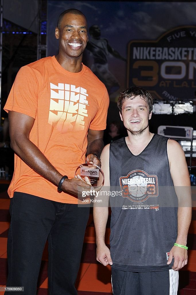 Basketball Player <a gi-track='captionPersonalityLinkClicked' href=/galleries/search?phrase=Jason+Collins+-+Basketball+Player&family=editorial&specificpeople=201926 ng-click='$event.stopPropagation()'>Jason Collins</a> (L) and actor <a gi-track='captionPersonalityLinkClicked' href=/galleries/search?phrase=Josh+Hutcherson&family=editorial&specificpeople=673588 ng-click='$event.stopPropagation()'>Josh Hutcherson</a> attend the 2nd Annual <a gi-track='captionPersonalityLinkClicked' href=/galleries/search?phrase=Josh+Hutcherson&family=editorial&specificpeople=673588 ng-click='$event.stopPropagation()'>Josh Hutcherson</a> Celebrity Basketball Game Benefitting Straight But Not Narrow at L.A. LIVE on August 9, 2013 in Los Angeles, California.