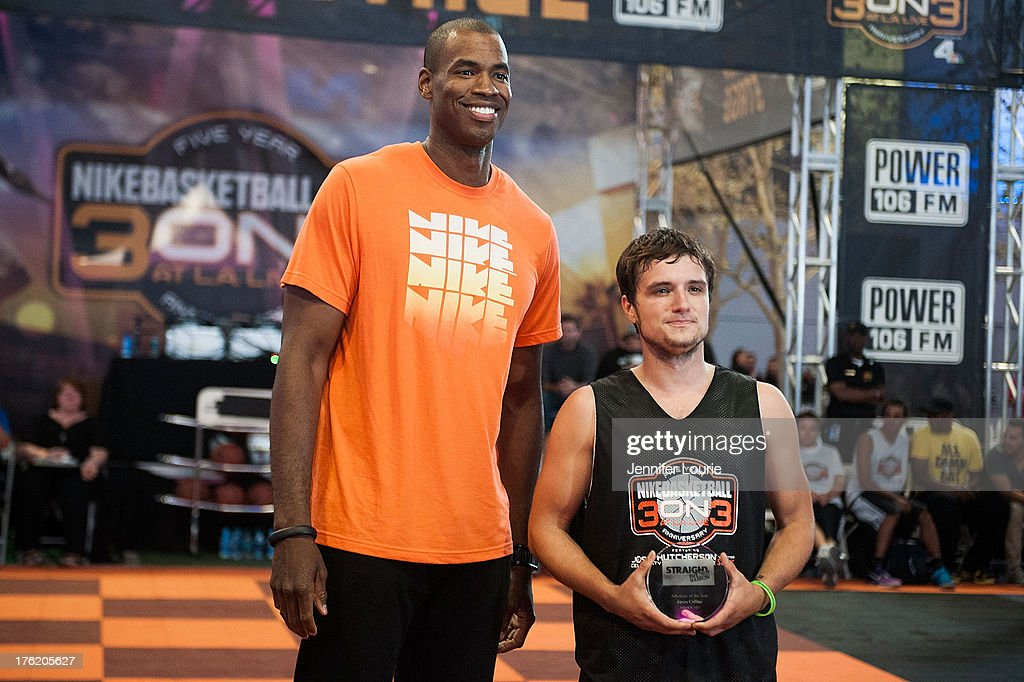 Basketball Player <a gi-track='captionPersonalityLinkClicked' href=/galleries/search?phrase=Jason+Collins+-+Basketball+Player&family=editorial&specificpeople=201926 ng-click='$event.stopPropagation()'>Jason Collins</a> (L) and actor <a gi-track='captionPersonalityLinkClicked' href=/galleries/search?phrase=Josh+Hutcherson&family=editorial&specificpeople=673588 ng-click='$event.stopPropagation()'>Josh Hutcherson</a> attend the 5th annual Nike basketball 3ON3 tournament presented by NBC4 southern california held at L.A. LIVE on August 9, 2013 in Los Angeles, California.