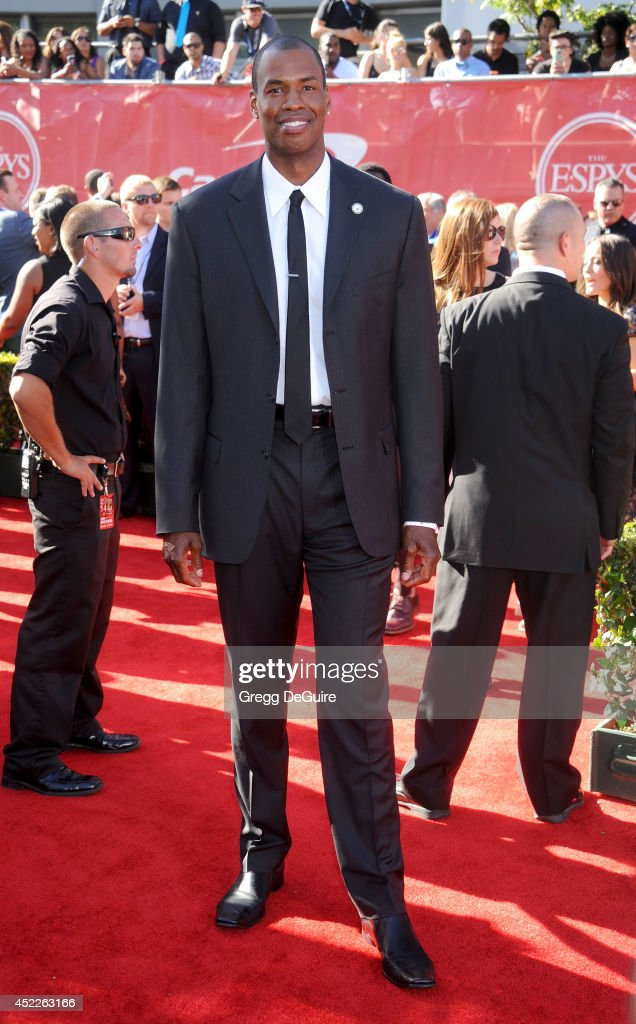 NBA basketball player <a gi-track='captionPersonalityLinkClicked' href=/galleries/search?phrase=Jason+Collins+-+Basketball+Player&family=editorial&specificpeople=201926 ng-click='$event.stopPropagation()'>Jason Collins</a> arrives at the 2014 ESPY Awards at Nokia Theatre L.A. Live on July 16, 2014 in Los Angeles, California.