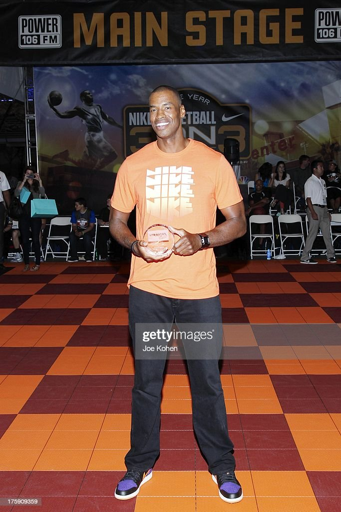 Basketball Player <a gi-track='captionPersonalityLinkClicked' href=/galleries/search?phrase=Jason+Collins+-+Basketball+Player&family=editorial&specificpeople=201926 ng-click='$event.stopPropagation()'>Jason Collins</a> attends the 2nd Annual Josh Hutcherson Celebrity Basketball Game Benefitting Straight But Not Narrow at L.A. LIVE on August 9, 2013 in Los Angeles, California.