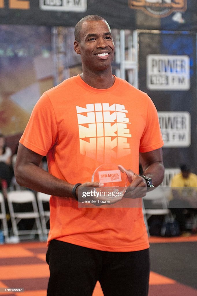 Basketball Player Jason Collins attendsthe 5th annual Nike basketball 3ON3 tournament presented by NBC4 southern california held at L.A. LIVE on August 9, 2013 in Los Angeles, California.