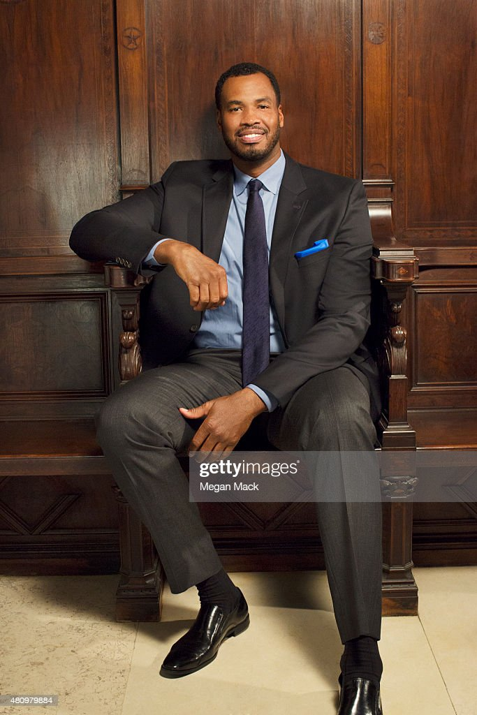Basketball player Jason Collins poses for a portrait at the Logo TV's 'Trailblazers' at the Cathedral of St John the Divine on June 25 2015 in New...