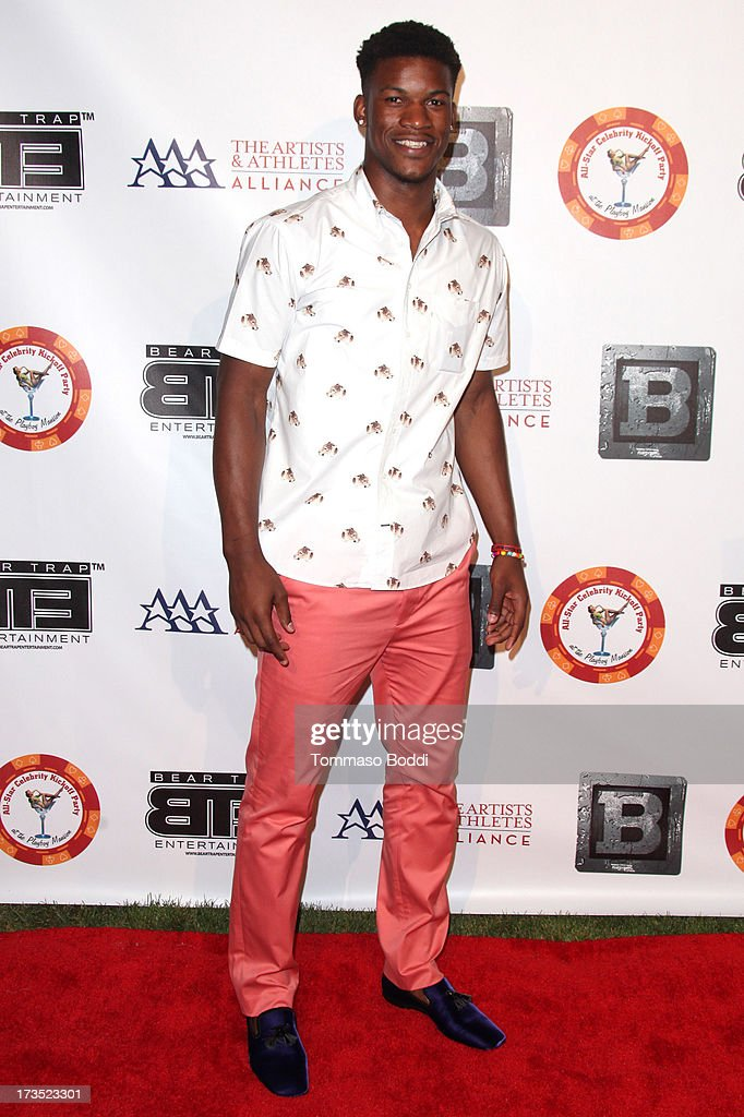 Basketball Player Jimmy Butler attends the 8th annual BTE All-Star Celebrity Kickoff Party held at The Playboy Mansion on July 15, 2013 in Beverly Hills, California.