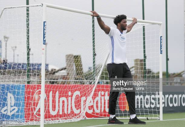 Basketball player Joel Embiid relaxes during the Ultimate Champions match between the Gullit AllStars team and the Butragueno AllStars at the...
