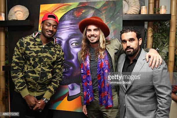 Basketball player John Wal artist MadSteez and CoFounder of Haute Media Group Seth Semilof attend the Ulysse Nardin Crown Royal and Haute Time...