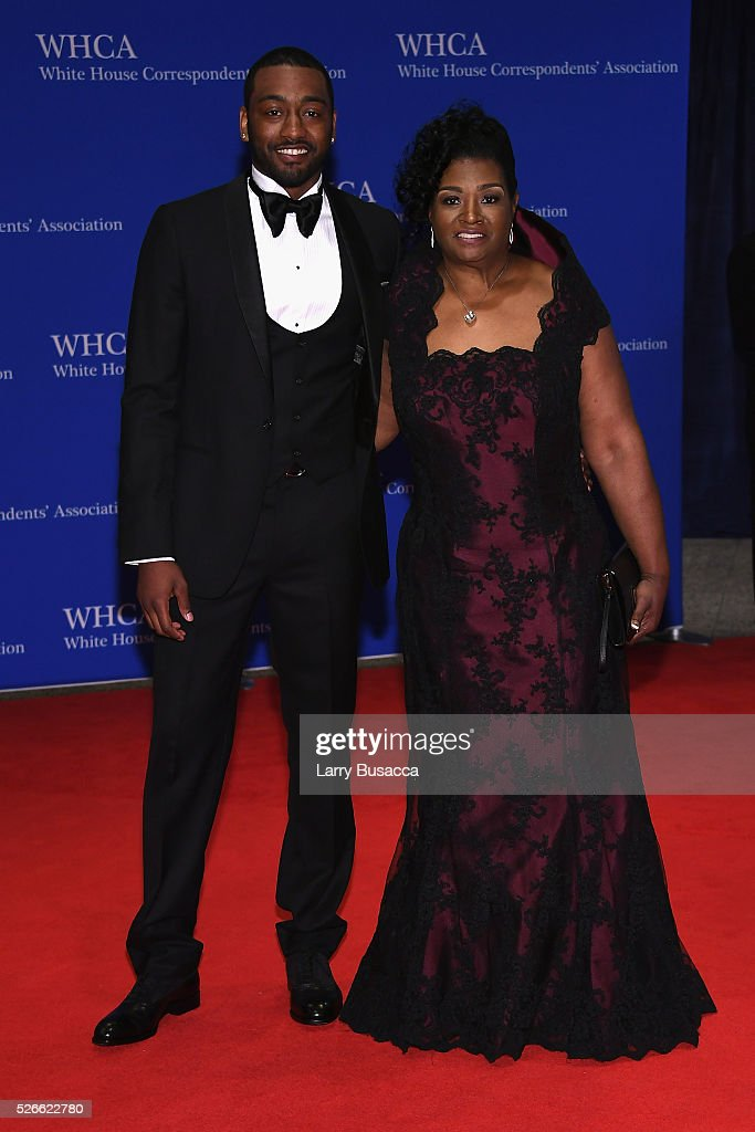 Basketball player <a gi-track='captionPersonalityLinkClicked' href=/galleries/search?phrase=John+Wall&family=editorial&specificpeople=2265812 ng-click='$event.stopPropagation()'>John Wall</a> (L) and Frances Pulley attend the 102nd White House Correspondents' Association Dinner on April 30, 2016 in Washington, DC.