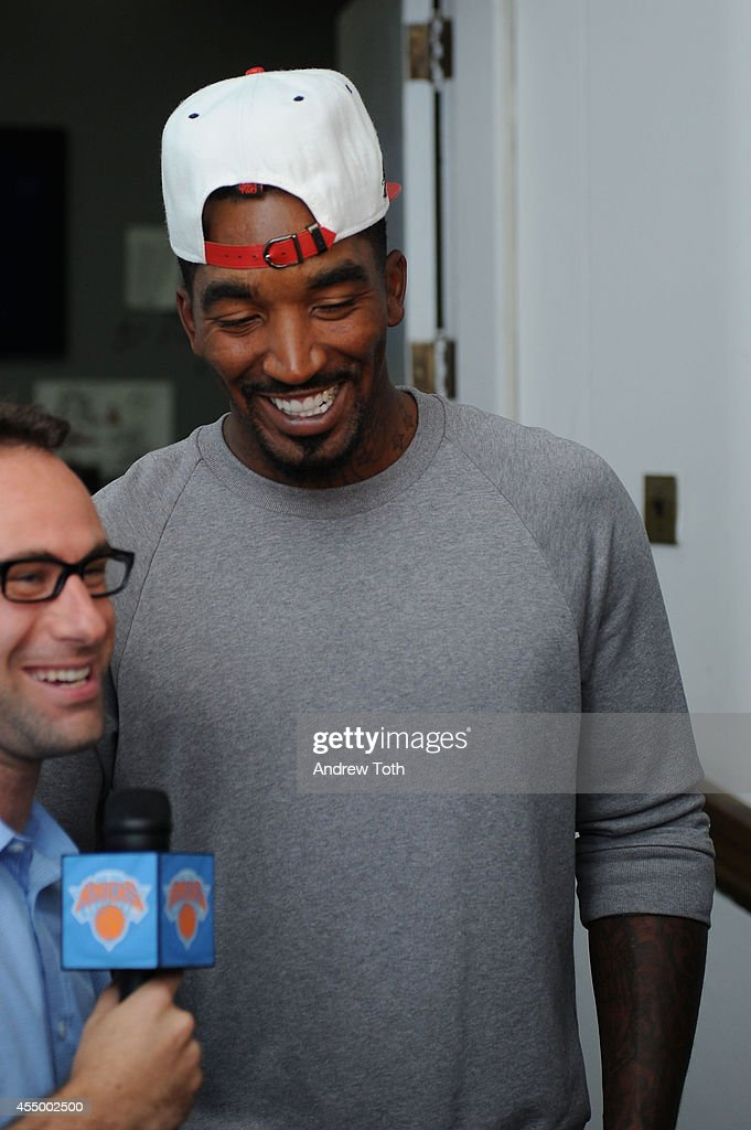 Basketball player JR Smith attends backstage at the Nike/Levi Kids fashoin show during MercedesBenz Fashion Week Spring 2015 at Cafe Rouge on...