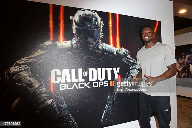 Basketball player Julius Randle visits Activision's Call of Duty Black Ops 3 booth during E3 2015 at Los Angeles Convention Center on June 18 2015 in...