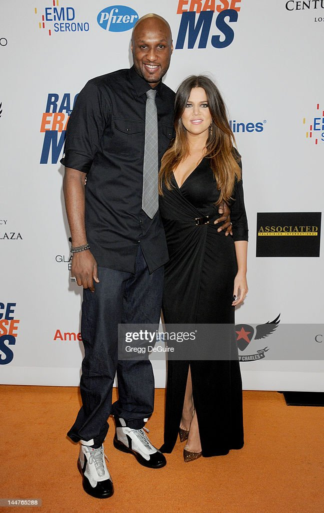 NBA basketball player <a gi-track='captionPersonalityLinkClicked' href=/galleries/search?phrase=Lamar+Odom&family=editorial&specificpeople=201519 ng-click='$event.stopPropagation()'>Lamar Odom</a> and wife <a gi-track='captionPersonalityLinkClicked' href=/galleries/search?phrase=Khloe+Kardashian&family=editorial&specificpeople=3955023 ng-click='$event.stopPropagation()'>Khloe Kardashian</a> arrive at the 19th Annual Race To Erase MS Event at the Hyatt Regency Century Plaza on May 18, 2012 in Century City, California.