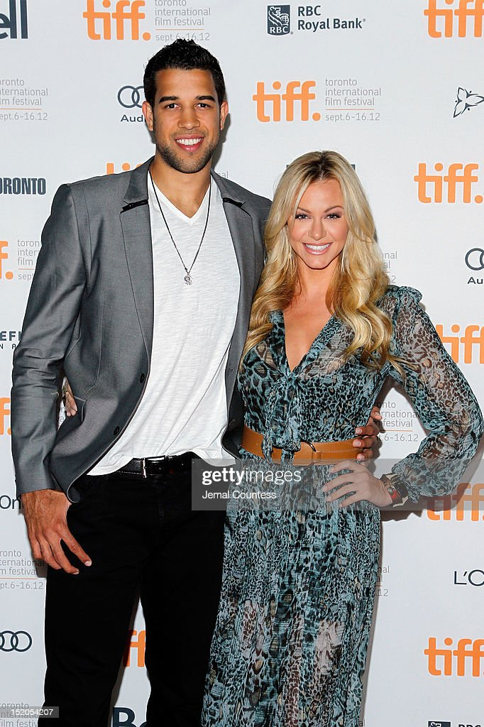 Basketball player <a gi-track='captionPersonalityLinkClicked' href=/galleries/search?phrase=Landry+Fields&family=editorial&specificpeople=4184645 ng-click='$event.stopPropagation()'>Landry Fields</a> (L) of the Toronto Raptors and Elaine Alden attend the 'Bad 25' Premiere during the 2012 Toronto International Film Festival held at the Ryerson Theatre on September 15, 2012 in Toronto, Canada.