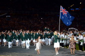 Basketball player Lauren Jackson of Australia carries her national flag into the stadium during the Opening Ceremony of the London 2012 Olympic Games...