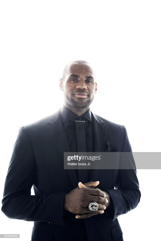 Basketball player <a gi-track='captionPersonalityLinkClicked' href=/galleries/search?phrase=LeBron+James&family=editorial&specificpeople=201474 ng-click='$event.stopPropagation()'>LeBron James</a> is photographed as Sportsman of the Year 2012 for Sports Illustrated on December 5, 2012 in Miami, Florida.
