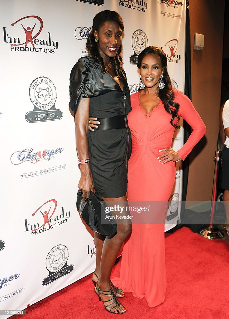 Basketball player <a gi-track='captionPersonalityLinkClicked' href=/galleries/search?phrase=Lisa+Leslie&family=editorial&specificpeople=202228 ng-click='$event.stopPropagation()'>Lisa Leslie</a> and actor <a gi-track='captionPersonalityLinkClicked' href=/galleries/search?phrase=Vivica+A.+Fox&family=editorial&specificpeople=201901 ng-click='$event.stopPropagation()'>Vivica A. Fox</a> appear at the <a gi-track='captionPersonalityLinkClicked' href=/galleries/search?phrase=Vivica+A.+Fox&family=editorial&specificpeople=201901 ng-click='$event.stopPropagation()'>Vivica A. Fox</a> & Brian McKnight Performance of 'Cheaper To Keep Her' At The Wiltern Theatre on September 30, 2010 in Los Angeles, California.