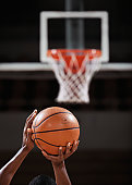 Basketball player making free throw, rear view, close-up of hands