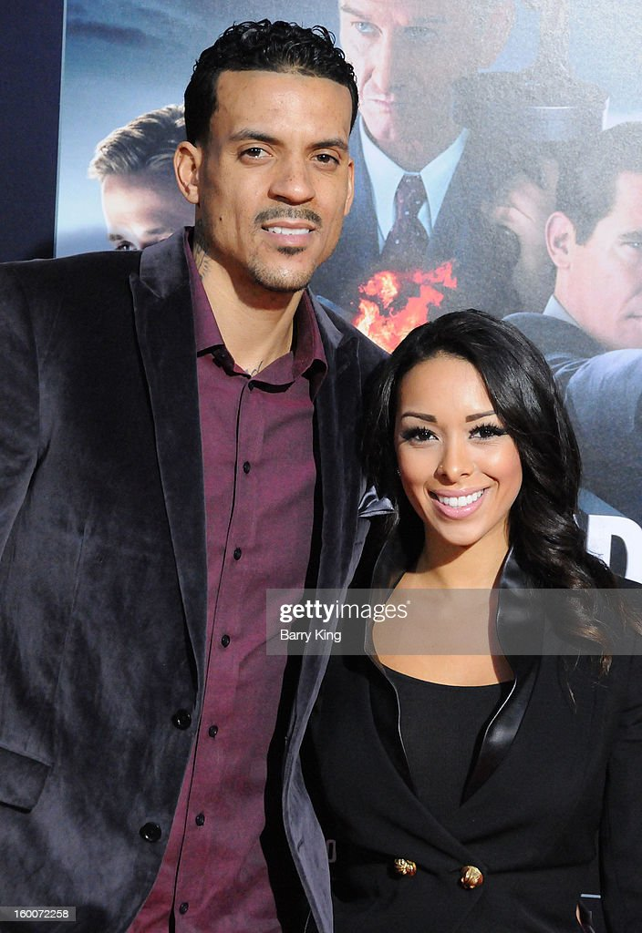 NBA basketball player <a gi-track='captionPersonalityLinkClicked' href=/galleries/search?phrase=Matt+Barnes+-+Basketball+Player&family=editorial&specificpeople=202880 ng-click='$event.stopPropagation()'>Matt Barnes</a> and his wife TV personality <a gi-track='captionPersonalityLinkClicked' href=/galleries/search?phrase=Gloria+Govan&family=editorial&specificpeople=7070564 ng-click='$event.stopPropagation()'>Gloria Govan</a> attend the 'Gangster Squad' Los Angeles premiere held at Grauman's Chinese Theatre on January 7, 2013 in Hollywood, California.