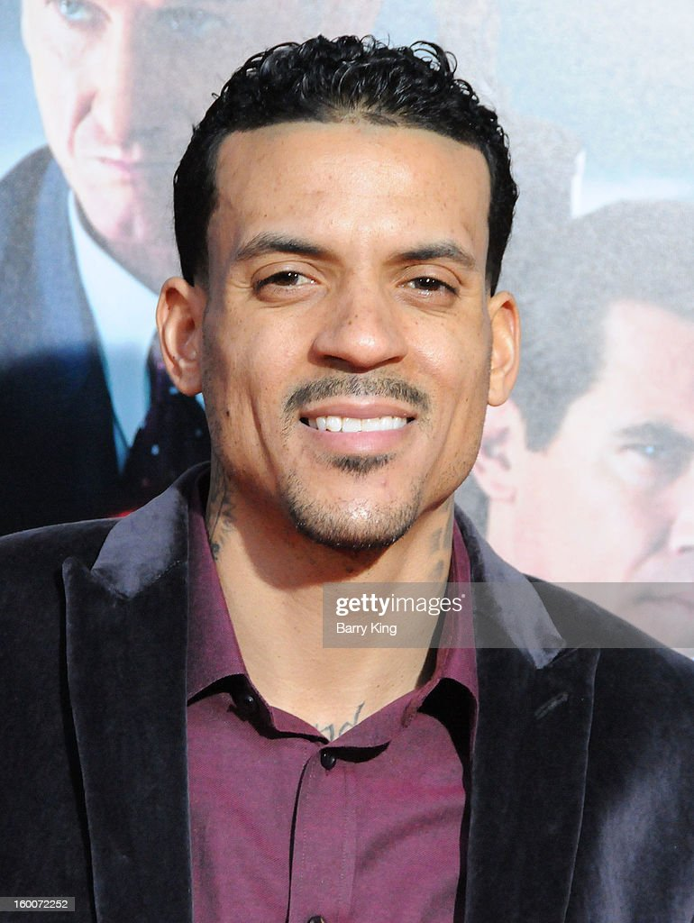 NBA basketball player <a gi-track='captionPersonalityLinkClicked' href=/galleries/search?phrase=Matt+Barnes+-+Basketball+Player&family=editorial&specificpeople=202880 ng-click='$event.stopPropagation()'>Matt Barnes</a> attends the 'Gangster Squad' Los Angeles premiere held at Grauman's Chinese Theatre on January 7, 2013 in Hollywood, California.