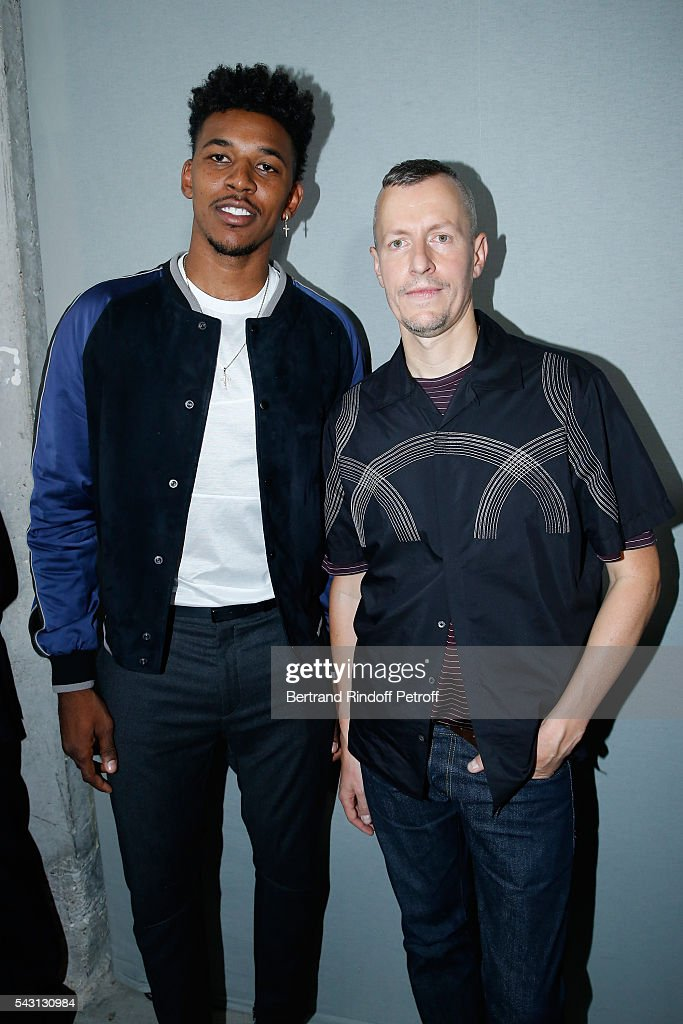 Basket-ball player Nick Young and Stylist Lucas Ossendrijver attend the Lanvin Menswear Spring/Summer 2017 show as part of Paris Fashion Week on June 26, 2016 in Paris, France.