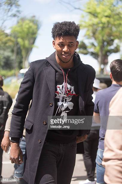 Basketball player Nick Young before the Dior Homme show at Tennis Club de Paris on June 25 2016 in Paris France