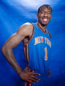 Basketball player of the New York Knicks Amare Stoudemire poses at a portrait session for Sports Illustrated in Tarrytown New York on January 26 2011...
