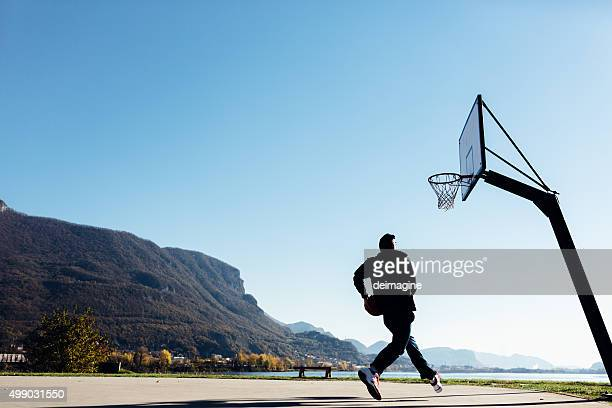 Basketball player on the outdoor court