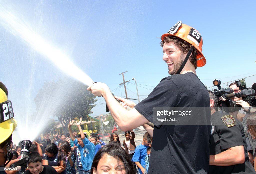 Basketball player Pau Gasol partners with MySafe: LA to educate elementary school children on fire safety at Euclid Elementary School on May 20, 2010 in Los Angeles, California.