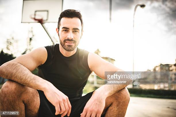 basketball player portrait on the court