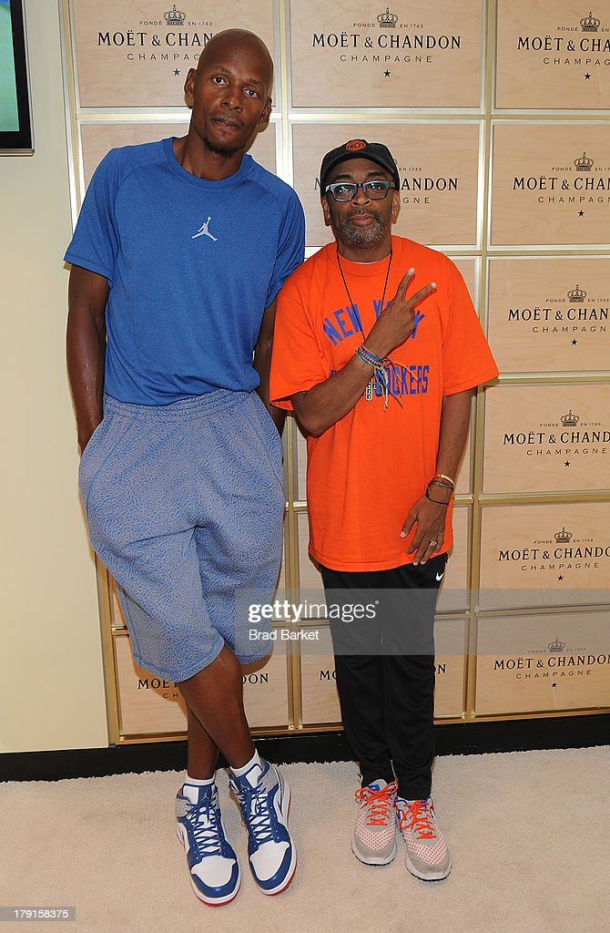 Basketball Player <a gi-track='captionPersonalityLinkClicked' href=/galleries/search?phrase=Ray+Allen&family=editorial&specificpeople=201511 ng-click='$event.stopPropagation()'>Ray Allen</a>(L) and Spike Lee attend the Moet & Chandon Suite at USTA Billie Jean King National Tennis Center on August 31, 2013 in New York City.