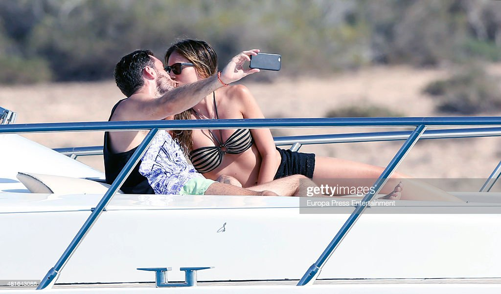 Basketball player Rudy Fernandez and model Helen Lindes are seen on July 22 2015 in Ibiza Spain