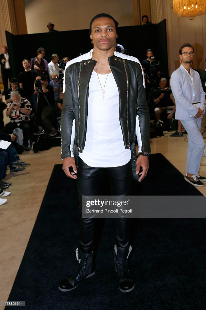 Basketball player Russell Westbrook attends the Balmain Menswear Spring/Summer 2016 show as part of Paris Fashion Week on June 27, 2015 in Paris, France.